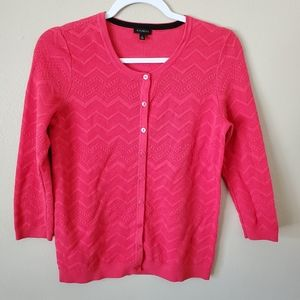 Talbots Coral Button Down Knit Cardigan Small